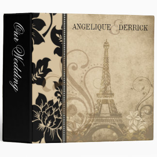 Fleur de Paris Eiffel Tower wedding album | sand 3 Ring Binder