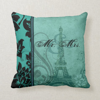 Fleur de Paris | teal Mr. & Mrs. Throw Pillow