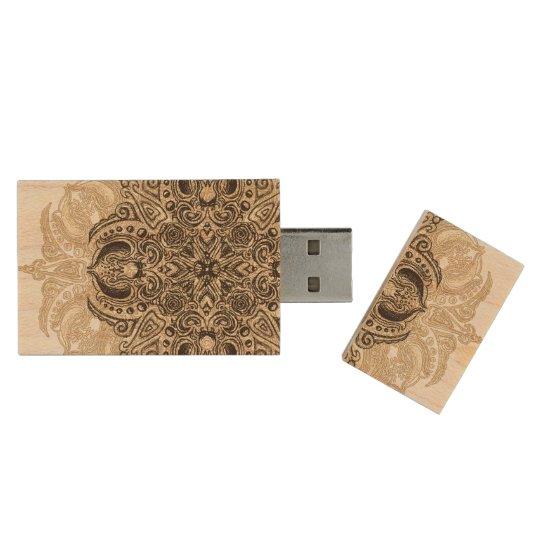Fleur de Swirl 64GB 3.0 Wood USB 3.0 Flash Drive