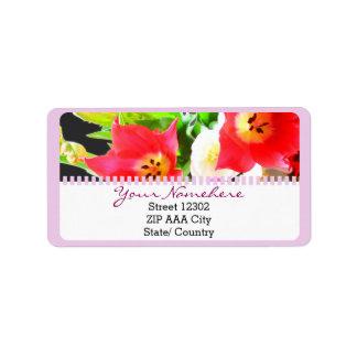 Fleur de tulipes de ressort étiquette d'adresse