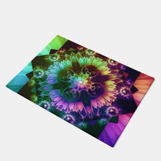 Fleur des Vents, Rainbow Fractal Flower of Winds Doormat
