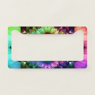 Fleur des Vents, Rainbow Fractal Flower of Winds License Plate Frame