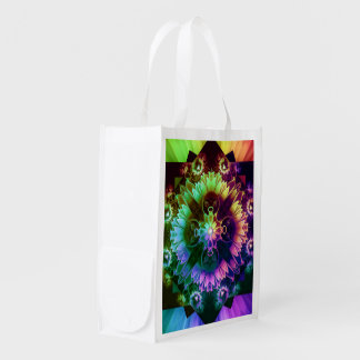 Fleur des Vents, Rainbow Fractal Flower of Winds Reusable Grocery Bag