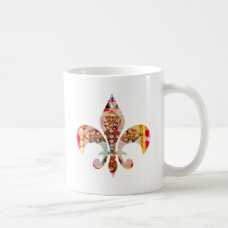 Fleur di lis Flowers Floral Jewel Pattern Coffee Mug