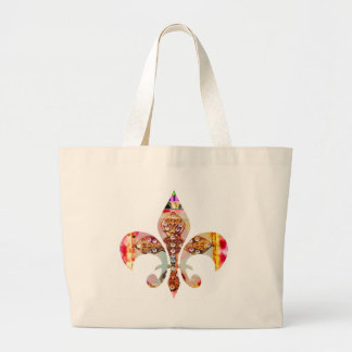Fleur di lis Flowers Floral Jewel Pattern Large Tote Bag