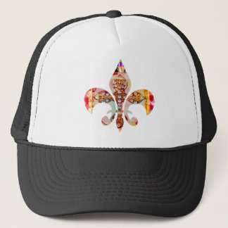 Fleur di lis Flowers Floral Jewel Pattern Trucker Hat