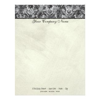 Fleur di Lys Damask Black Stationery Letterhead Template