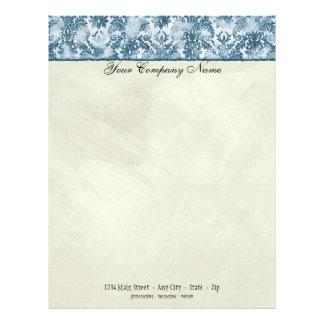 Fleur di Lys Damask Blue Stationery Letterhead Design