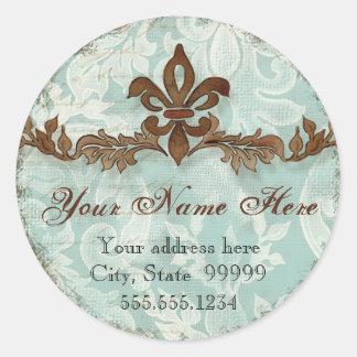 Fleur di Lys Damask Brown Address Stickers