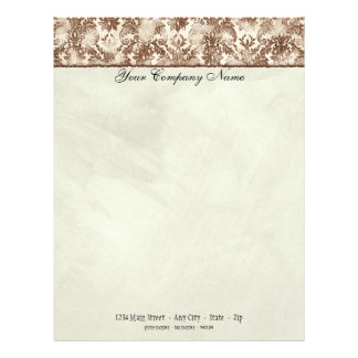 Fleur di Lys Damask Brown Stationery Letterhead Design