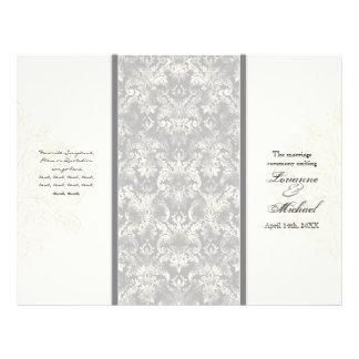 Fleur di Lys Damask - Grey Formal Wedding Program Flyer