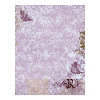 Fleur di Lys Damask - Monogrammed Scrapbook pages Letterhead Design