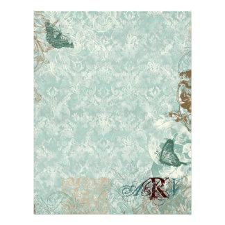 Fleur di Lys Damask - Monogrammed Scrapbook pages Letterhead Template
