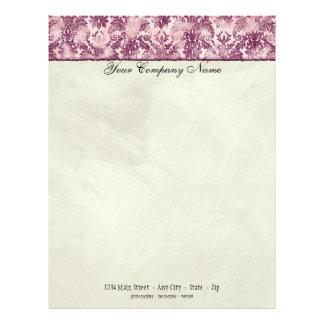 Fleur di Lys Damask Raspberry Stationery Custom Letterhead