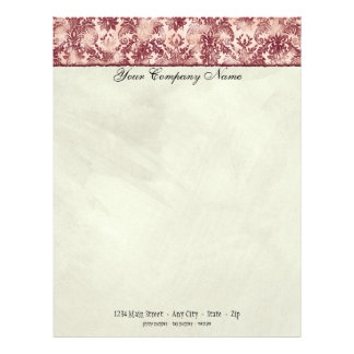 Fleur di Lys Damask Red Stationery Personalized Letterhead