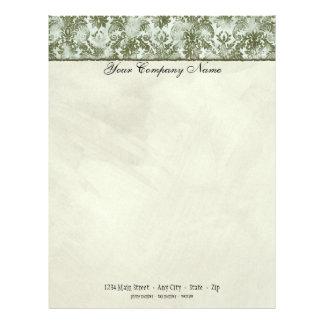 Fleur di Lys Damask Sage Green Stationery Personalized Letterhead