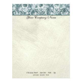 Fleur di Lys Damask Slate Blue Stationery Letterhead Design