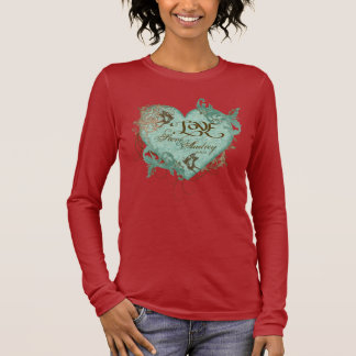 Fleur di Lys Damask T-shirt, Wedding Anniversary Long Sleeve T-Shirt
