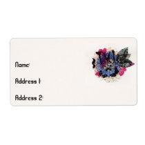 Fleur et feuille bleus étiquettes