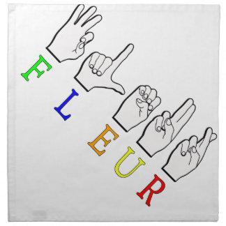 FLEUR FINGERSPELLED ASL NAME SIGNS NAPKIN