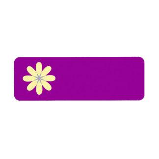 Fleur grise jaune étiquette d'adresse retour