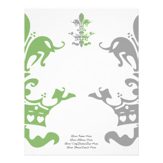 Fleur Heart Crown - Green Customized Letterhead