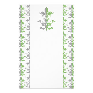 Fleur Heart Crown - Green Customized Stationery