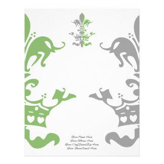 Fleur Heart Crown - Green Letterhead