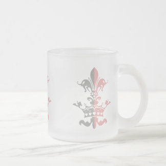 Fleur Heart Crown - Pink Frosted Glass Coffee Mug