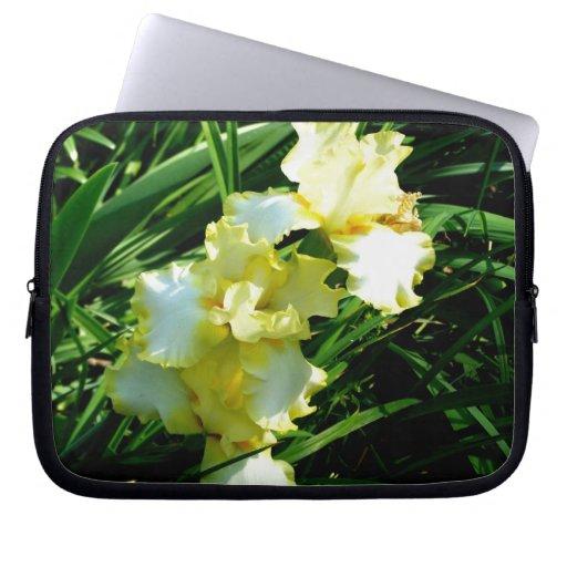 Fleur jaune et blanche d'iris trousses ordinateur