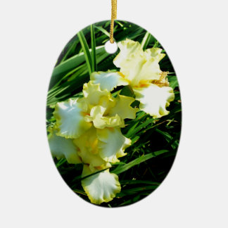 Fleur jaune et blanche d'iris ornement ovale en céramique
