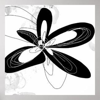 Fleur noire et blanche de mod - - affiche