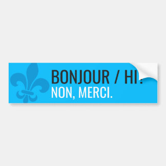 Fleur of lily modern Quebec bonjour/hi - YOUR TEXT Bumper Sticker