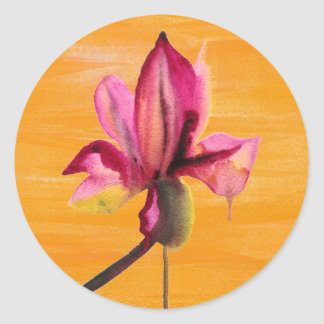 Fleur orange pour aquarelle d'art de bruit autocollant rond