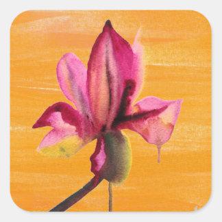 Fleur orange pour aquarelle d'art de bruit autocollants carrés
