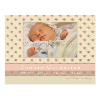 Fleur Pink/Rosy Brown • Birth Announcement Postcard