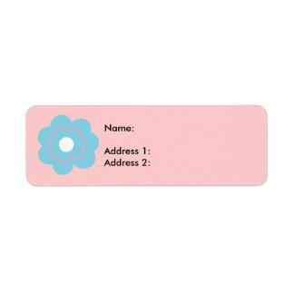 Fleur rose bleue étiquette d'adresse retour