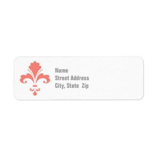 Fleur rose de corail de lis étiquettes d'adresse retour