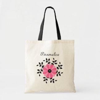 Fleur rose et noire décorée d'un monogramme à la m sac en toile budget