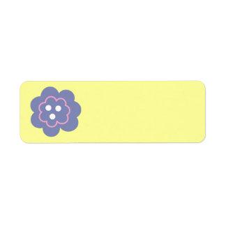 Fleur rose pourpre étiquette d'adresse retour