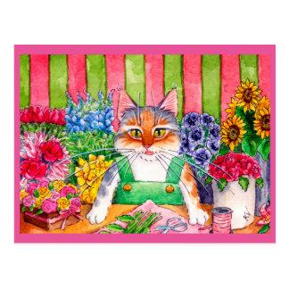 Fleuriste mignon d'art de chat cartes postales