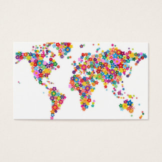 Fleurit la carte de la carte du monde