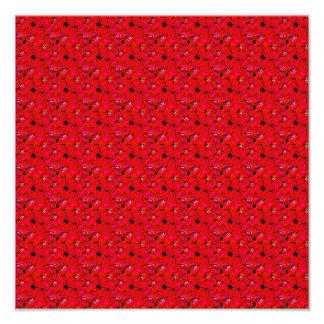 Fleurs à la mode rouges lumineuses de ketmie impressions photographiques
