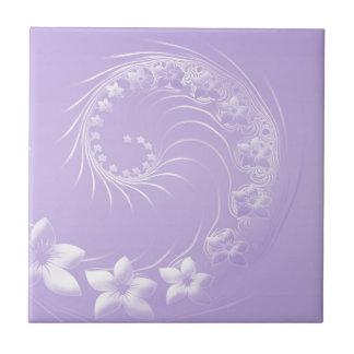 Fleurs abstraites violet-clair petit carreau carré