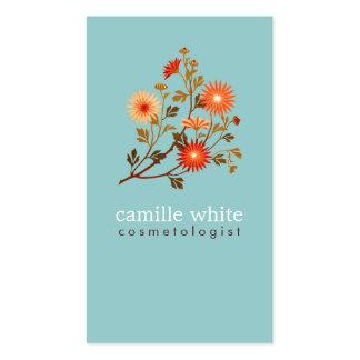 Fleurs colorées de rouge orange de Cosmetologist v Modèle De Carte De Visite