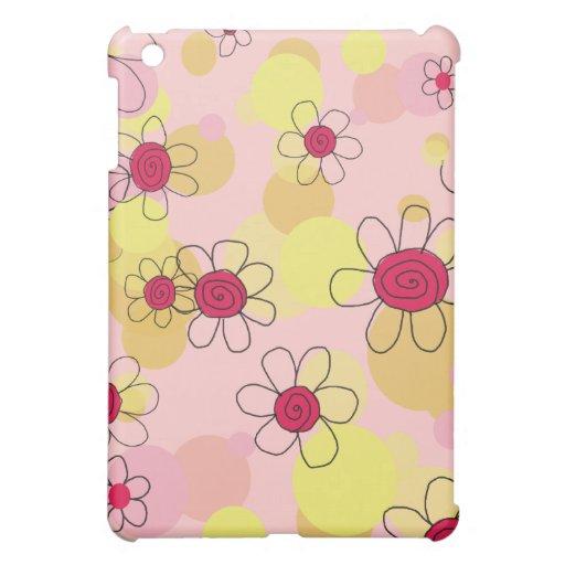 Fleurs d'amusement et cas rose d'Apple iPod de bul Étui iPad Mini
