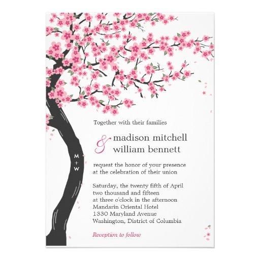 Fleurs de cerisier épousant des invitations
