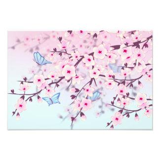 Fleurs de cerisier et enfants de papillons  tirage photo