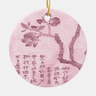 Fleurs de cerisier ornement rond en céramique