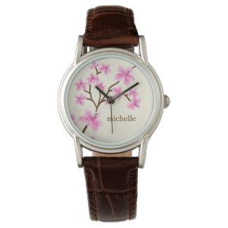 Fleurs de cerisier roses montres